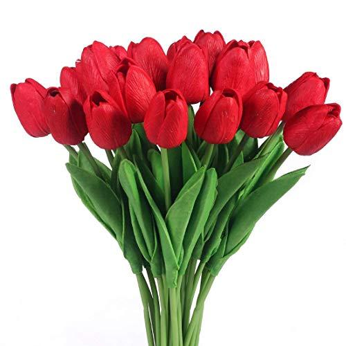 JUSTOYOU Tulip Real, Flores Artificiales para Ramos de Boda, hogar, Hotel, decoración de jardín, Eventos, Navidad, como Regalo, Rojo, 20 Piezas.