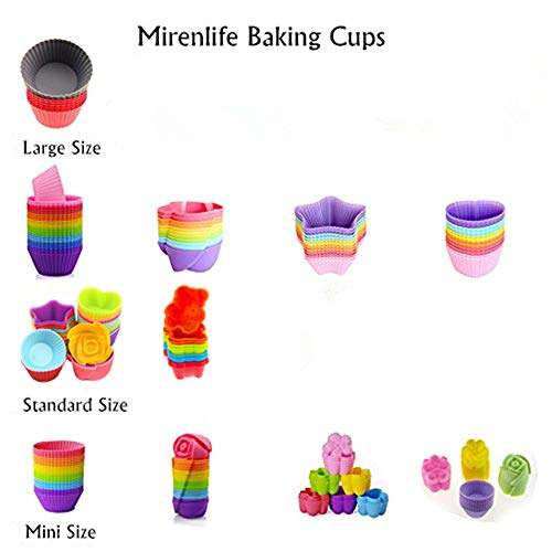 Mirenlife Reusable and Non-stick Mini Silicone Baking Cups/Muffin Cups/Mini Cupcake Liners/Mini Chocolate Holders/Truffle Cups -24 Pack-6 Vibrant Colors Flower