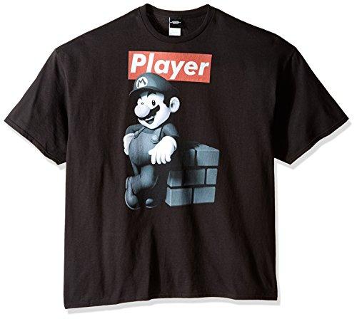 Nintendo Men's Mario Player T-Shirt, Black, 5X-Large