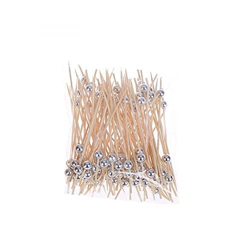 100 PCS 12 cm Bebida de madera Palillo de dientes Cóctel de coctelería Pinchazo Tenedor desechable BAMBOO Sticks Pearl Bar Picks Suministros-Silver||100 PCS