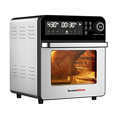 Bonsenkitchen Air Fryer Oven with Rotisserie and Rack, 15.3QT Roster Toaster Oven with Dehydrator, 7 Accessories & 50 Recipe, 1600W 8-in-1 Digital Family Size Air Fryer, Large LED Touchscreen, 7 Presets for Home Made French Fries, Steak, Pizza
