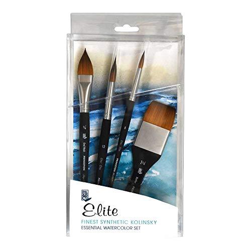 Princeton Elite NextGen Artist Brush, Synthetic Kolinsky Sable for Watercolor, Series 4850, 4 Piece Professional Set (4850BSET)