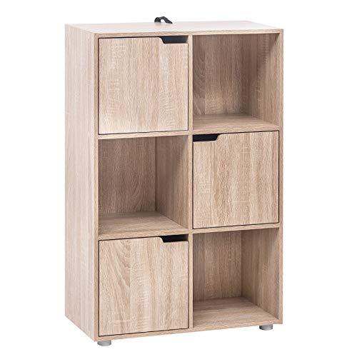 WOLTU Bücherregal SK001hei Bücherschrank Standregal Aufbewahrungregal Raumteiler Büroregal Aktenschrank, mit 3 Türen, MDF, 6 Fächer, 60x30x91cm