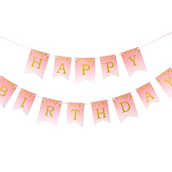 Easy Joy Pink Ombre Happy Birthday Banner Gold Spotted Glitter Banner 1st Girls Princess Birthday Baby Shower Party Decorations