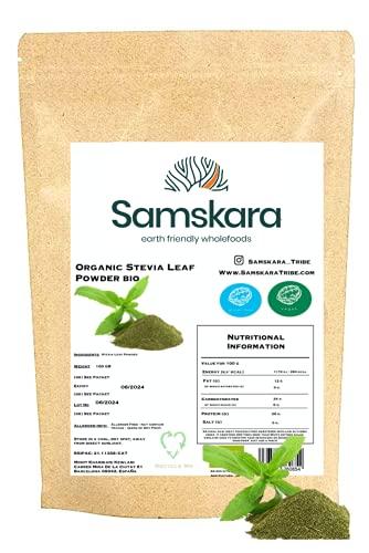 Estevia en Polvo natural molida pura   Stevia de cultivo Ecológica BIO origen Española   Hojas molida   Verde   Endulzante proceso natural raw   100gr
