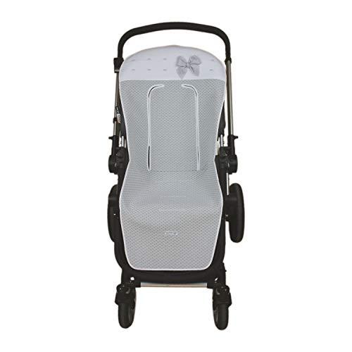 Funda de Verano para Silla Paseo Universal Rosy Fuentes- Colchoneta para Carrito Bebé - Funda de silla de paseo - Equipado para ser Ajustado perfectamente - Elaborado en Piqué jacquard - Color gris