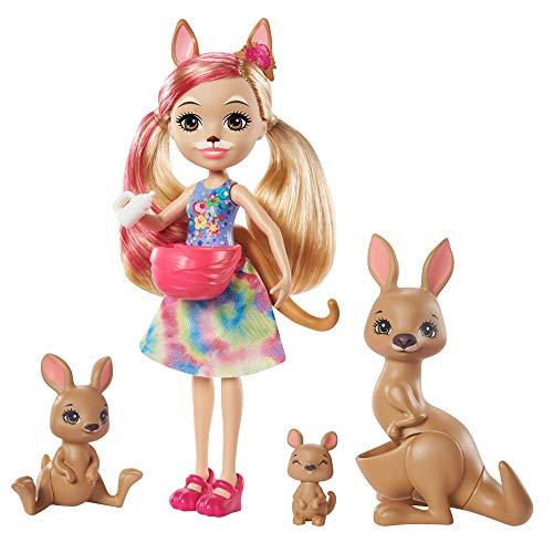 Enchantimals Sunny Savanna Muñeca Kamilla Kangaroo con familia de canguros mascota de juguete (Mattel GTM31)