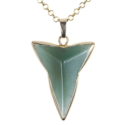 Jovivi Handmade Bronze Triangle Darts Quartz Stone Pendulum Pendant Necklace Gemstone Jewelry, with Gift Box
