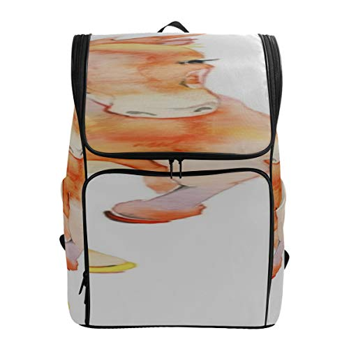 Rainbow Water Running White Horse In Flowers Hiking Back Bag Backpacks For Kids Casual Beach Bag Best Hiking Bag Fits 15.6 Inch Laptop And Notebook Mens Fashion Bookbag Womens Cas
