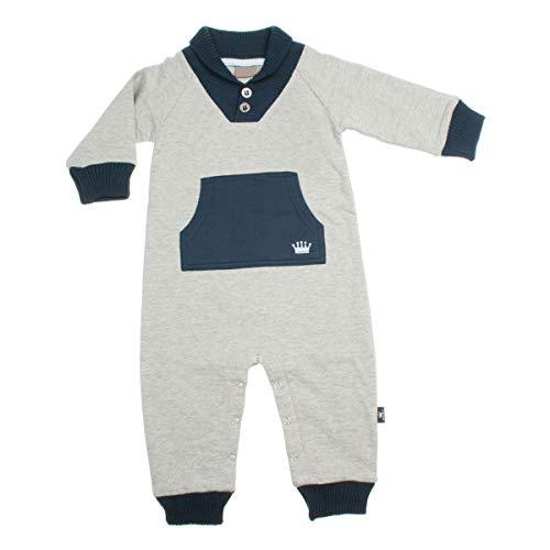 Hust & Claire - Baby Junge Overall Anzug Babymode Einteiler Spieler Playsuit mit Strickbündchen graumeliert Größe 68 (6 Monate)