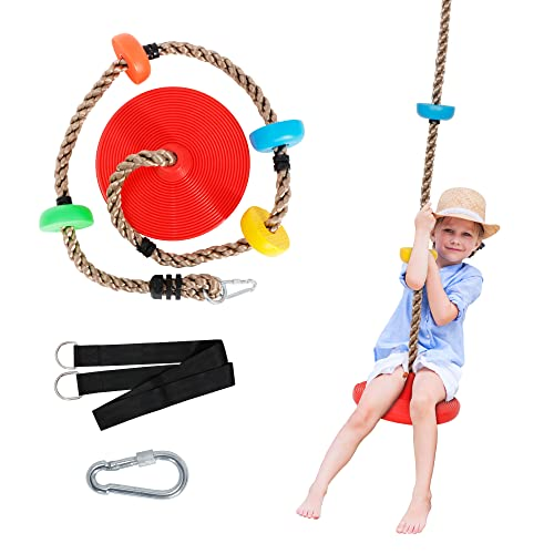 SUPER DEAL 6.6FT Climbing Rope Tree Swing Set with Multicolor Platforms and Disc Swing Seat for Kids - Bonus Carabiner and 5FT Strap for Outdoor, Backyard, Playground, Garden, Tree House