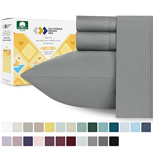California Design Den 100% Cotton Sheet Set, Slate Gray King Sheets 4 Piece Set, Long-Staple Combed Pure Natural 400 Thread Count Cotton Bed Sheets, Soft & Silky Sateen Weave
