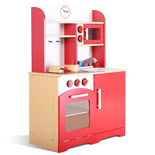 COSTWAY Kinderküche aus Holz, Spielküche mit Stauraum, Holzküche für Kinder, Spielzeugküche zum Rollenspiel, Kinderspielküche inkl. Öfen, Spielzeug Küche 61 x 33 x 93 cm