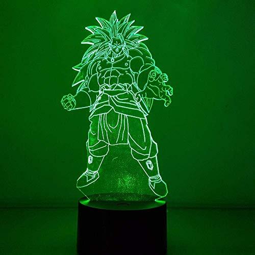 Lámpara de ilusión 3D Led Luz de la Noche Dragon Ball Broly Color Cambio Visual USB Dragon Ball Super Saiyan Acción Figura Anime Juguete