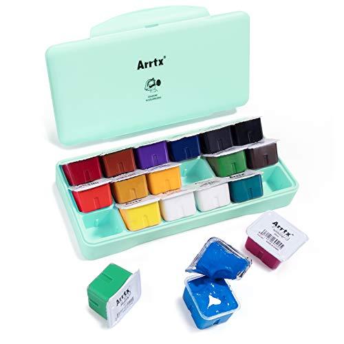 Arrtx Gouache Paint Set, 18 Colors x 30ml Unique Jelly Cup Design, Portable Case with Palette for Artists, Students, Gouache Opaque Watercolor Painting (Mint Green)