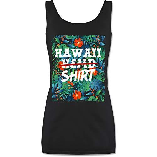 Karneval & Fasching - Hawaii Hemd Shirt - L - Schwarz - hawaiihemd Damen - P72 - Tanktop für Damen und Frauen Tops