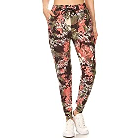 Leggings Depot Women's Printed Solid Activewear Jogger Track Cuff Sweatpants