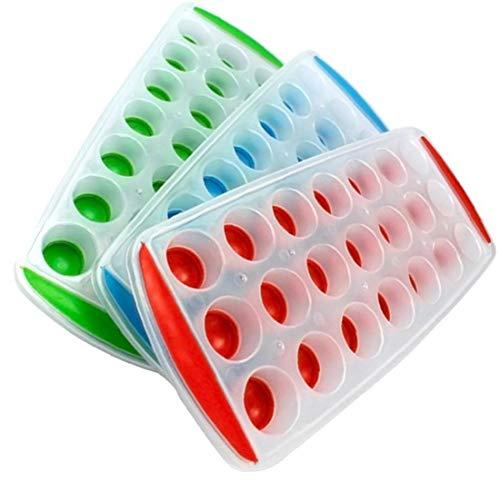 Heall 1pc 21 Rejillas de Hielo bandejas de Cubitos con Tapas de Silicona Libre de BPA Hielo Moldes Contenedores la fácil liberación de Goma Hielo Formar canastillos 1Pc