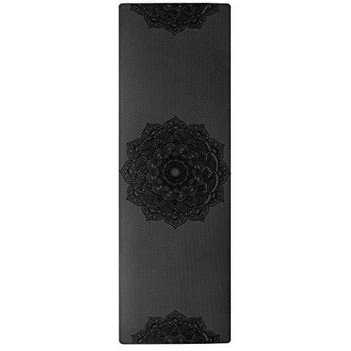 XIAOQBH Esterilla Yoga Antideslizante TPE Yoga colchonetas for Gimnasia de la Aptitud Ejercicio del Deporte Esterilla Deporte (Color : Black)