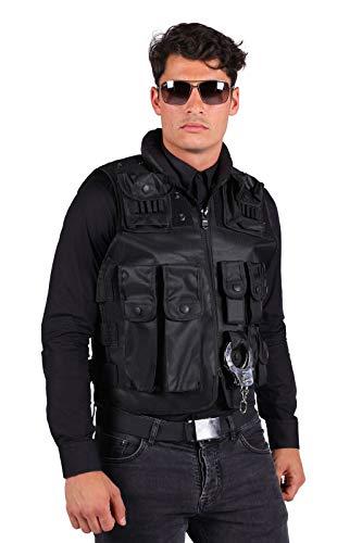 SWAT-Weste Deluxe mit vielen Taschen & Swat-Bagde Erwachsene Größenverstellbar Polizeikostüm Oberteil FBI SEK Karneval Fasching Hochwertige Verkleidung Fastnacht Einheitsgröße Schwarz