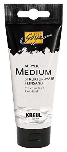 Kreul 85801 - Solo Goya Acrylic Medium, Strukturpaste Feinsand, pastose Spachtelmasse, mit feinkörniger sandartiger Oberflächenstruktur, einfärb- und übermalbar, 100 ml Tube, weiß