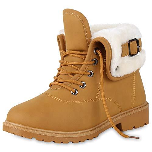 SCARPE VITA Damen Stiefeletten Worker Boots Outdoor Schuhe Schnallen Warm Gefütterte Schnürschuhe...