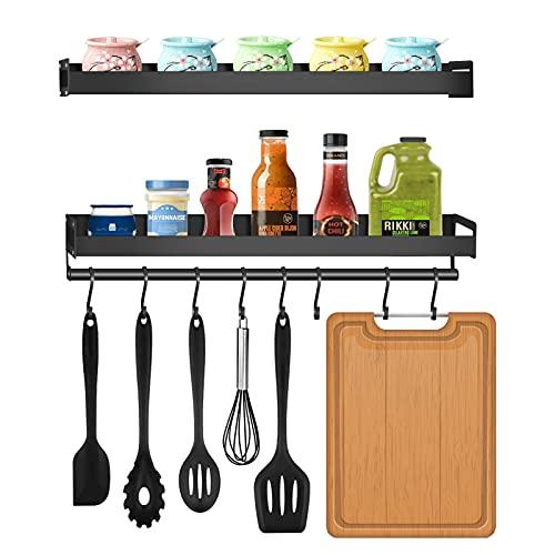 Especiero de cocina,Especiero cocina,Estante de Cocina Multifuncional con 8 Ganchos,Especiero 2 niveles,Aluminio,Organizadores para Utensilios de Cocina,para baño de Cocina,etc