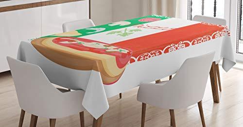 ABAKUHAUS Pizza Tischdecke, Italienische Küche & Flagge, Für den Inn & Outdoor Bereich geeignet Waschbar Druck Klar Kein Verblassen, 140 x 240 cm, Mehrfarbig