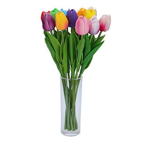 ☀ Dergo ☀Mini Tulip Artificial Flower Latex Real Bridal Wedding Bouquet Home Decor
