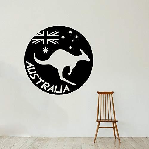 YuanMinglu Australische Flagge Wandaufkleber Känguru Tier Wandtattoo Kinderzimmer Innendekoration Mobile Art DIY Schwarz 57x57cm