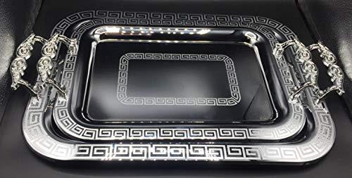 Set de 2 Bandeja de té rectangular con grabado de estilo vintage,...