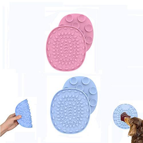 2 Stück Hund Lecken Pad, Hund Katzen Bad Waschen Dusche Training Ablenkung Spielzeug, Doggy Puppy Grooming Trocknen Spielzeug Mit Super Starke Saugkraft 2 Stück (Hellblau, pink)