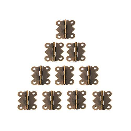 ZXCVB 20 Piezas 25x20mm bisagra de Puerta de Mariposa Armario de Bronce Caja de joyería bisagras Decorativas herrajes para Muebles con Tornillos