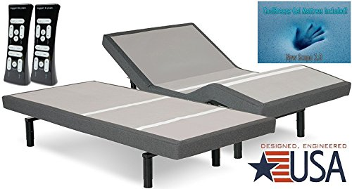 DynastyMattress 15.5-Inch AtlantisBreeze Gel Memory Foam Mattress with S-Cape Adjustable Beds Set Sleep System Leggett & Platt (Split King-Without Setup)