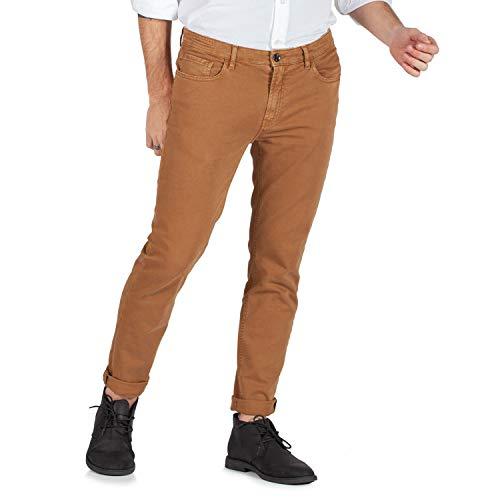 YAN SIMMON Pantalone 5 Tasche Slim Fit da Uomo, Cotone Elasticizzato e di qualità - Made in Italy (44, Tabacco)