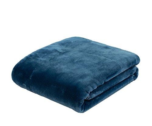Gözze Premium Cashmere-Feeling Wohn- und Kuscheldecke, 180 x 220 cm, Blau, 40128-50-180220