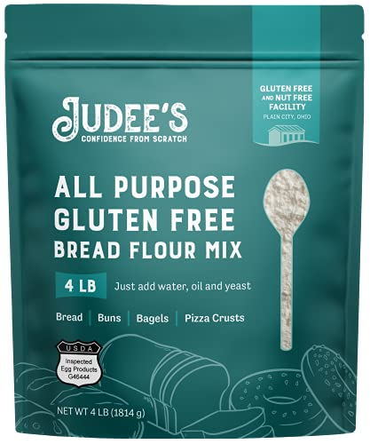 Judee's All Purpose Gluten Free Bread Flour Mix 4lb - Make Bread, Pizza Crusts, Bagels, Buns, English Muffins, Focaccia and more