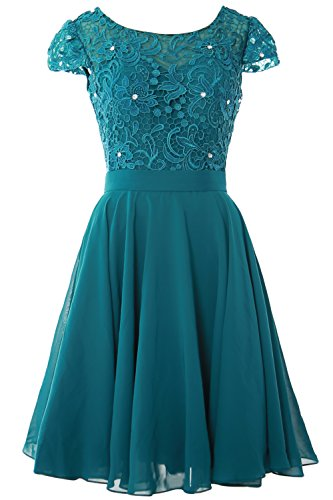 MACloth Women Lace Wedding Party Gown Cap Sleeve Short Mother of The Bride Dress (48, Teal)