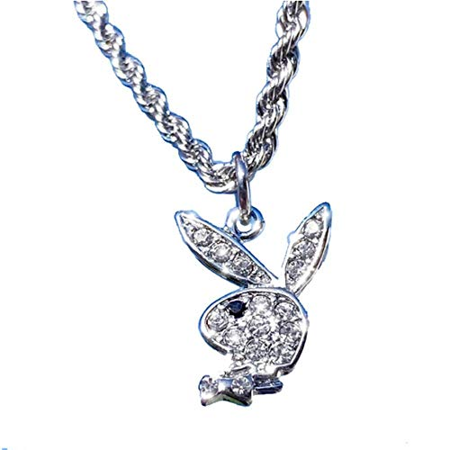 Halskette Playboy Rabbit Bunny Anhänger Halskette Für Männer Frauen-Weiß