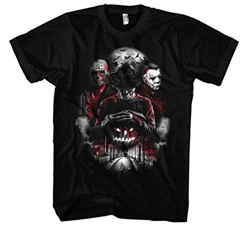 Nightmare Gang Männer und Herren T-Shirt | Freddy Michael Myers Jason Voorhees (XL, Schwarz)