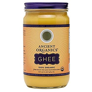 Organic Original Grass-fed Ghee, Butter by ANCIENT ORGANICS, 32 oz., Pasture Raised, Non GMO, Lactose - Casein - Gluten FREE, Certified KOSHER - 100% Organic Certified - USDA Approved (In Gift Box)