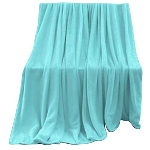 INLLADDY Kuscheldecke Wohndecke Flanell Tagesdecke Decke Flauschig Weich und Angenehm Warm Überwurf Sofadecke Hellblau 100x140cm