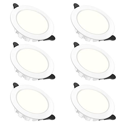 Foco Empotrable Led Techo,6× 6W Downlight Led Empotrable Redondo,Focos Led Techo,Blanco Cálido...