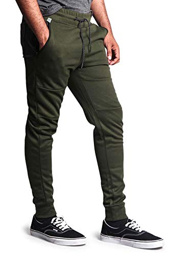 SP Active by South Pole Men's Basic Tech Moto Style Layered Ribbed Thigh Knee Sweat Pants 17321-1594 - Olive - Large - G15H