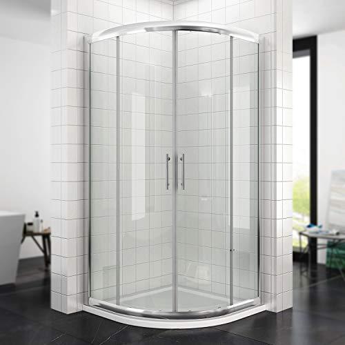 Duschkabine Viertelkreis 80x80cm mit Duschtasse Runddusche Schiebetür, mit Nano Glas, Höhe 185cm