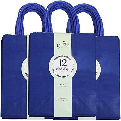 36CT Royal Blue Kraft Paper Gift Bags Bulk with Handles [ Ideal for Shopping, Packaging, Retail, Party, Craft, Gifts, Wedding, Recycled, Business, Goody and Merchandise Bag] (Royal Blue, 36CT Medium)