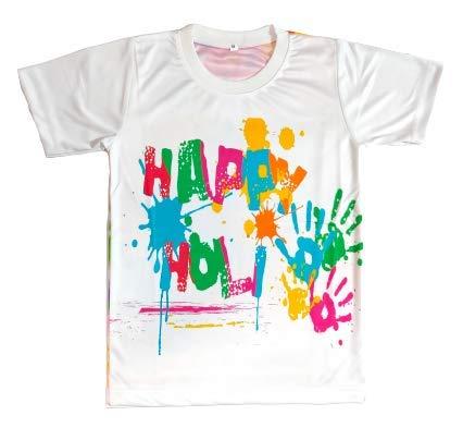 Baba & Baby Happy Holi Printed Boys & Girls T-Shirt (4-5 Years, Print-B)