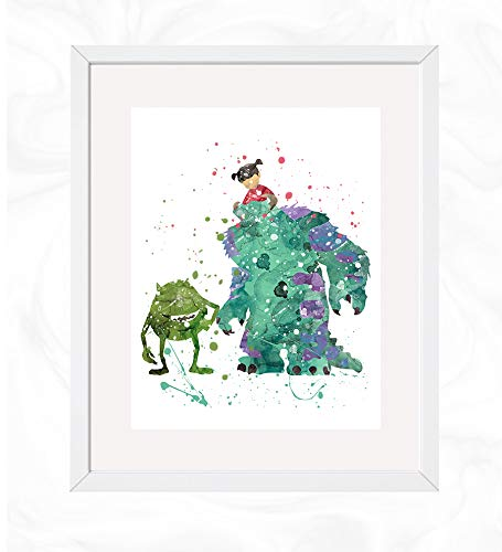 Mike, Boo and Sully Prints, Monsters Inc. Disney Watercolor, Nursery Wall Poster, Holiday Gift, Kids and Children Artworks, Digital Illustration Art