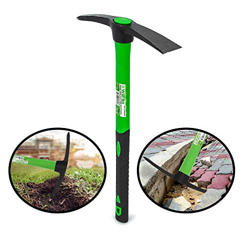 """WilFiks Pick Mattock, 15"""" Heavy Duty Pick Axe Hand Tool with Forged Heat Treated Carbon Steel, Adze Hoe for Weeding, Prying and Digging Anti-Slip Grip, Fiberglass Ergonomic Shock Reduction Handle"""