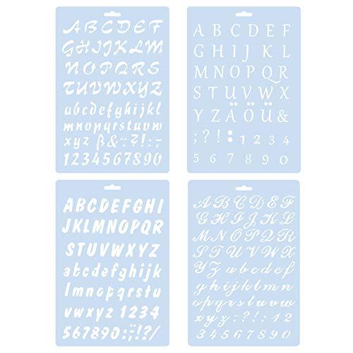 Alphabet-Gemälde, 4 Stück, für Bastelarbeiten, Tagebuch, Fotoalbum, Scrapbooking, Terminplaner, Kunstprojekte
